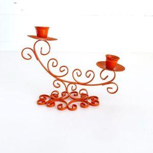 Retro Orange Candlestick Holder Vintage Curly